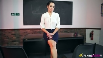 Sexy teacher in stockings Bonnie spreads legs wide and shows upskirt pussy