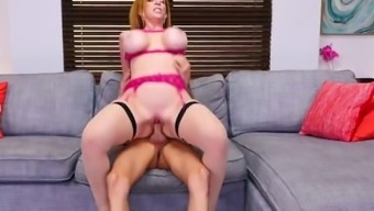 Redhead Stepmom Sara Jay In Stockings Gets Creampie After Shower