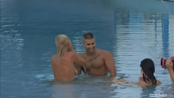 Laia Prats and Michelle Soleil have a blast fucking a guy in a pool
