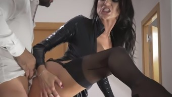 Delicious raven haired MILF in sexy leather jacket gets fucked on stairs tough