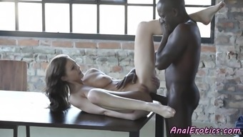 Alluring eurobabe assfucked by black cock