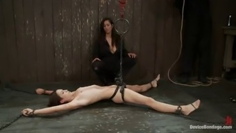 sex slave fucked by chick with strapon