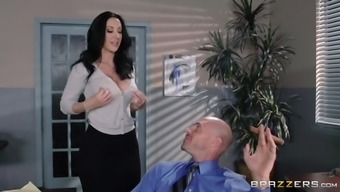 jayden jaymes whips out her tits and lets johnny worship those huge boobs