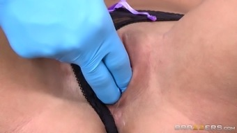 dr. sins gently instructing peta jensen on how to rub her tight pussy