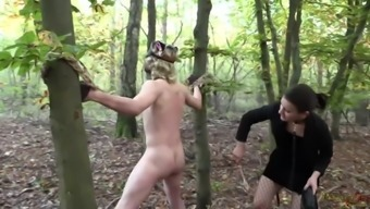 Kitty likes Mistress's game - Outdoor Strap-on Fuck