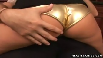 footjob & hardcore sex with big titty blonde