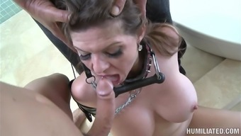 Sweet beauty June Summers is sucking a horny dick