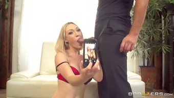 lily labeau takes selfies while sucking the cock