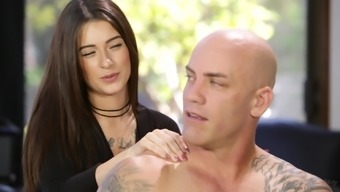 Lacey Channing seduces a bald handsome lover for a fuck