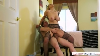 Julia Ann loves being a curvy woman and she rides dick like a champ