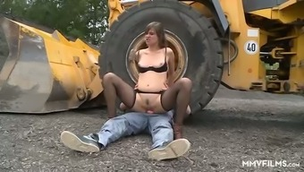 Dirty village slut gives head and rides strong cock of excavator-driver