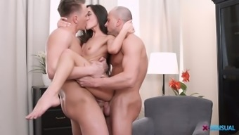 Flat chested but still sexy Russian girlie Kerry Cherry gives two blowjobs