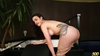 Wonderful busty ladyboy Leticia Alves is totally into jerking off her dick