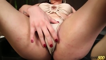Long legged and tall ladyboy Leticia Alves desires to gain delight on her own