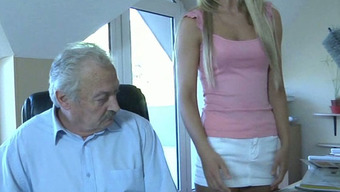 Oldman fucks his sweet and silly young maid