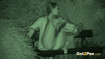 Amazing nightvision clip with a gal pissing in a park