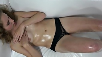 Shy curly blonde teases with her body on casting