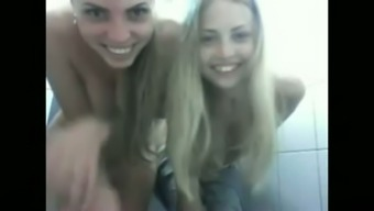 Me and my playful girlfriend show pussies in the bathroom