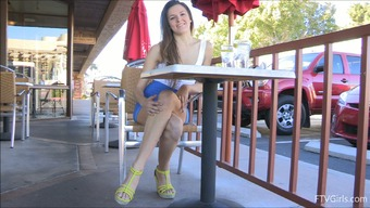 Naughty Amateur Flashes Her Pussy in an Outdoor Upskirt