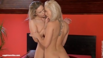 Blonde beauties Jolie and Generosa go down on each other