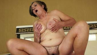 Hussy granny gives blowjob and rides dick like sex insane