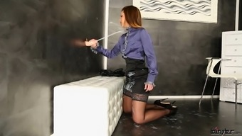 Fantastic girl in high heels and pantyhose at a hardcore gloryhole