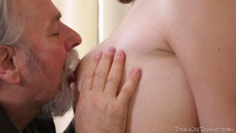Long haired sweetie gets her body worshiped by an old jerk