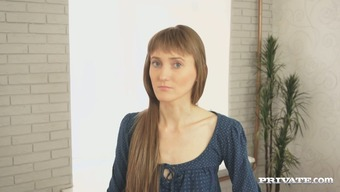 Skinny girl with long legs gets naked on the casting