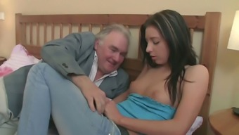 Freaky old stud mouth fucks young dark haired bitch greedily