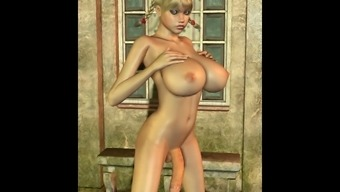 3D Busty Blonde with a huge cock