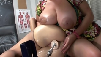 Redhead mom is getting dildo in her puss