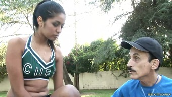 Cheerleader and a dirty old man with a big cock have sex