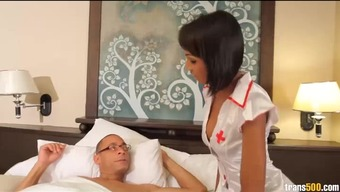 Naughty tranny nurse takes his monster cock in her ass