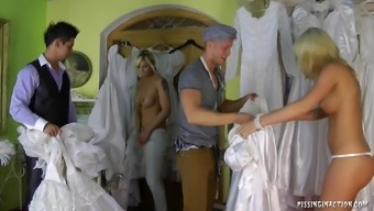 Very horny bride succumbs to hardcore fucking at the dressing room on her wedding morning
