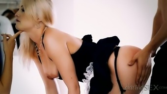 Seductive blond wife allows her husband to fuck sexy girl in maid uniform
