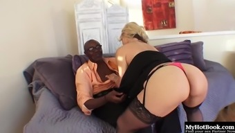 Classy blonde cougar Sarah has her hairy cunt rammed with a BBC