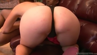 Shameless girlfriend guzzles huge black cock in the presence of her boyfriend