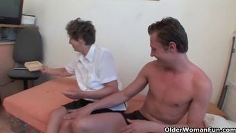 Lustful granny gets her hairy asshole fingered and fucked