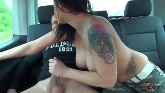 Busty bitch rides rock solid cock in the moving car
