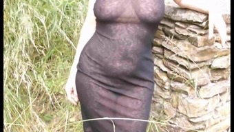 flashing and transparent dress outside