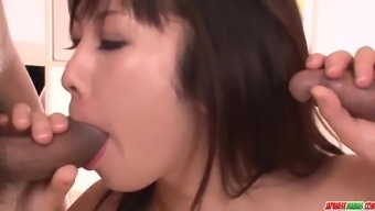 Amateur Hina Tokisaka seduced to fuck with two males