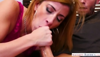 Golden haired nympho Sara Jay keeps on sucking tasty lollicock