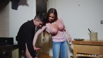 Busty babe Cathy Heaven bends over for a lover's dong