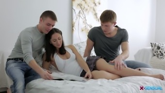 Sensual brunette Aruna Aghora is fucked by boyfriend and his fellow