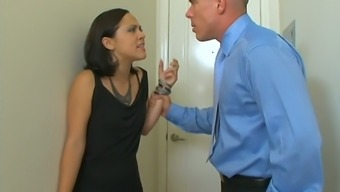 Angry stepdad fucks pretty hot stepdaughter Kristina Rose in her anal hole