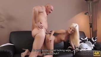 Daddy4k. bald daddy stretches divine blonde candee licious