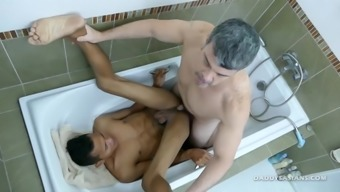 Daddy and Asian Boy Joshua Shower Fuck