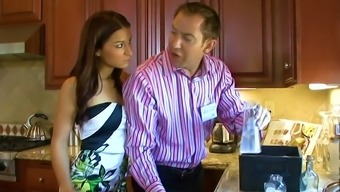 Stunning beauty with nice booty Ann Marie Rios is hammered in kitchen