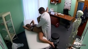 Sexy blonde gets creampie from doctor in fake hospital