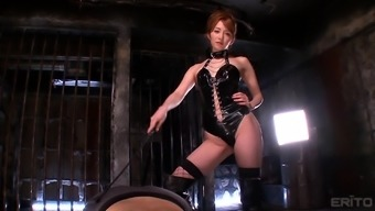 Hottie in leather Miku Ohashi enjoying with her obedient lover